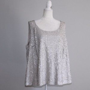 Vince Camuto Off White Matte Sequin Tank Top 2X